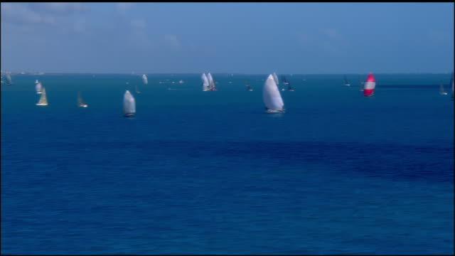low aerial, sailboats in ocean, key west, florida, usa - sailing boat stock videos & royalty-free footage
