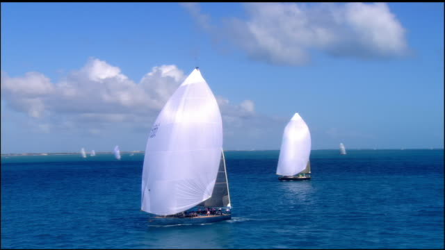 LOW AERIAL, Sailboats in ocean, Key West, Florida, USA
