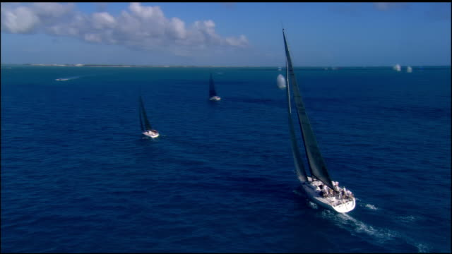 low aerial, sailboats in ocean, key west, florida, usa - sailing boat stock videos and b-roll footage