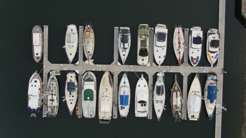 sailboats moored in marina - top down drone shot - pierce county washington state stock videos & royalty-free footage