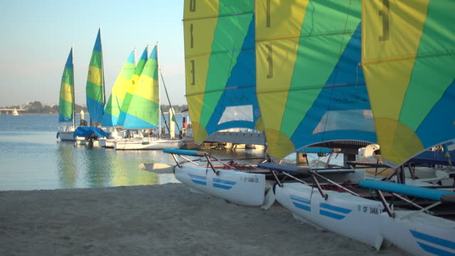 sailboats on mission bay, san diego, california. - goodsportvideo stock videos and b-roll footage