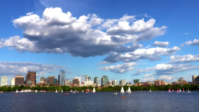 segelboote auf dem charles river in boston - back bay stock-videos und b-roll-filmmaterial
