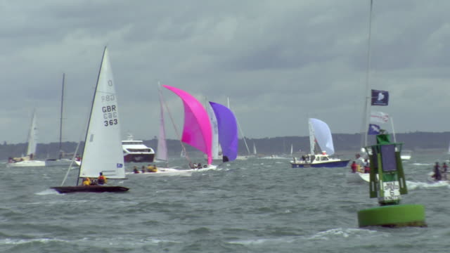 zo ws sailboats on water / cowes, isle of wight, united kingdom - isle of wight stock videos & royalty-free footage
