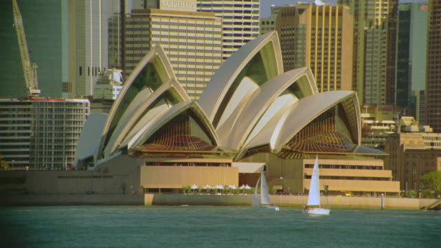 sailboats sailing in harbor in front of sydney opera house + skyline / sydney, australia - ニューサウスウェールズ州点の映像素材/bロール