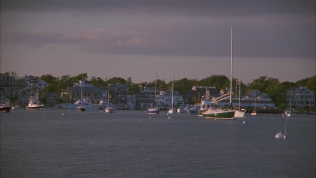 Sailboats tethered to mooring buoys fill a tranquil harbor.