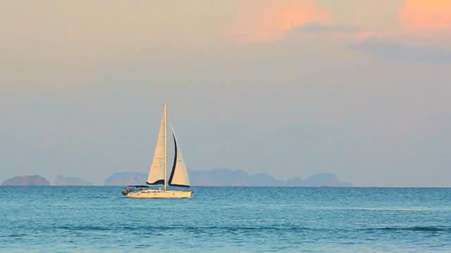 sailer sailing in sea - horizon stock videos & royalty-free footage
