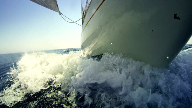 sailing boat bow during cruise - ship's bow stock videos & royalty-free footage