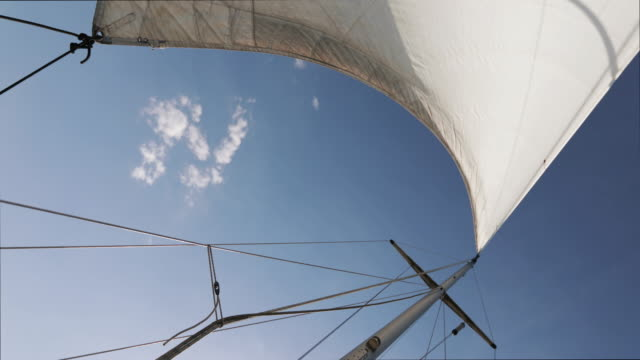 sailing boat cruising with sails: summer holidays at sea - sail stock videos & royalty-free footage