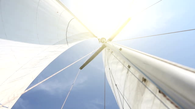 stockvideo's en b-roll-footage met sailing boat details: sun and sails - mast