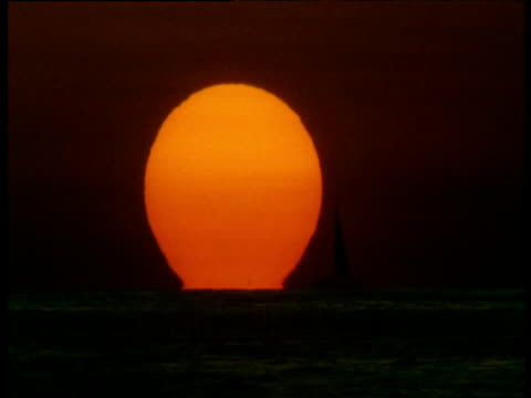 "vidéos et rushes de sailing boat sails in front of setting sun, ostional, costa rica - ""bbc natural history"""