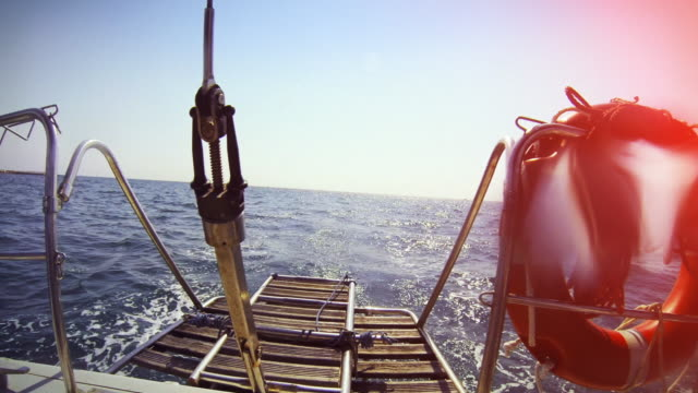 Sailing boat stern during cruise