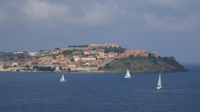 sailing boats at portoferraio - island of elba stock videos & royalty-free footage