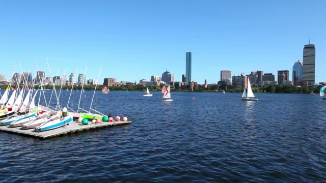 sailing boston, masssachusetts - river charles stock videos & royalty-free footage