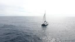 Sailing catamaran in Atlantic ocean