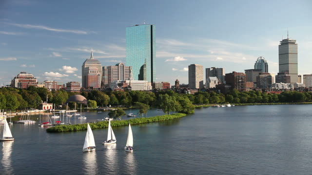 segeln in boston - back bay stock-videos und b-roll-filmmaterial
