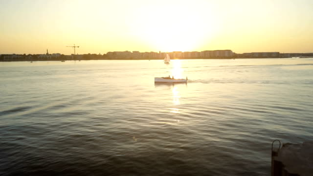 sailing in sunset - copenhagen stock videos and b-roll footage