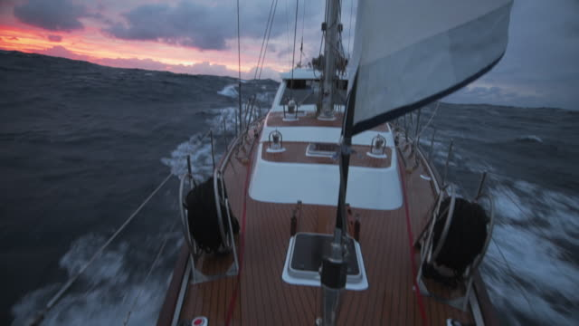 sailing in the storm in the atlantic ocean - sailing stock videos & royalty-free footage
