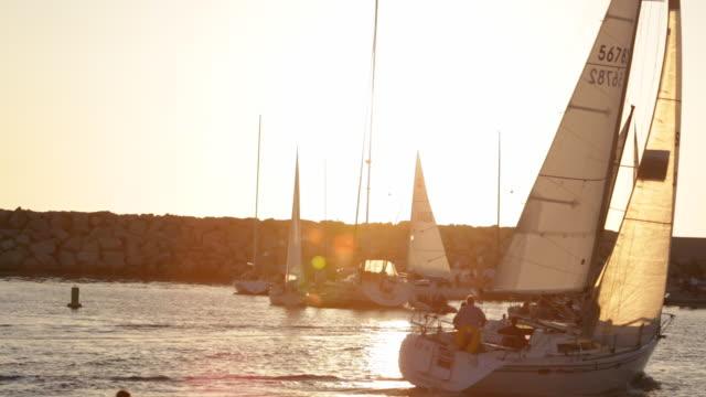 sailing king harbor redondo beach california - segel stock-videos und b-roll-filmmaterial