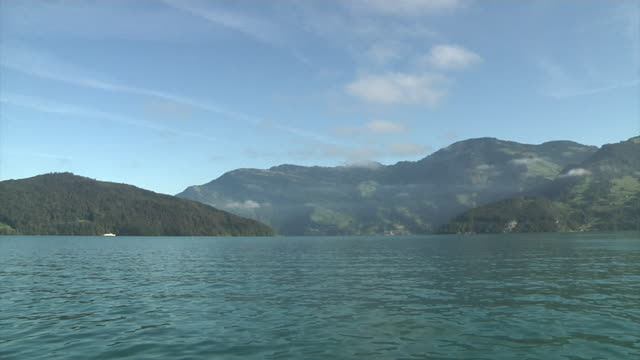 sailing on lake lucerne - view into land stock videos & royalty-free footage