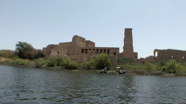 POV Sailing on Nile by Temple of Philae, Agilka Island, Aswan, Egypt