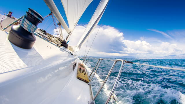 stockvideo's en b-roll-footage met ms sailing on the ocean - golf water
