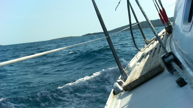 hd slow motion: sailing on the sea - ship's bow stock videos and b-roll footage