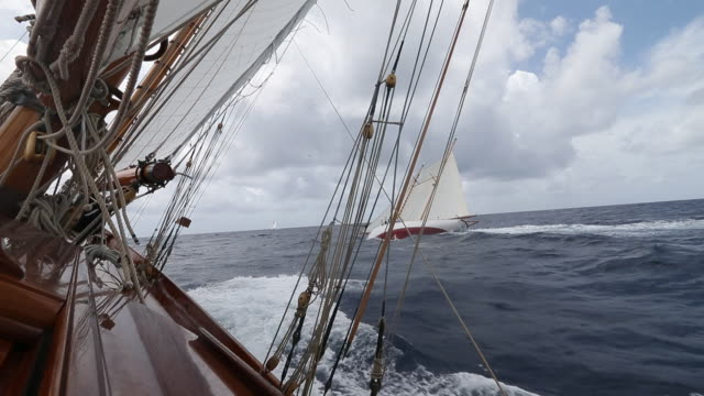 "sailing onboard classic yacht ""adventuress"", antigua classic yacht regatta, british west indies - recreational boat stock videos & royalty-free footage"