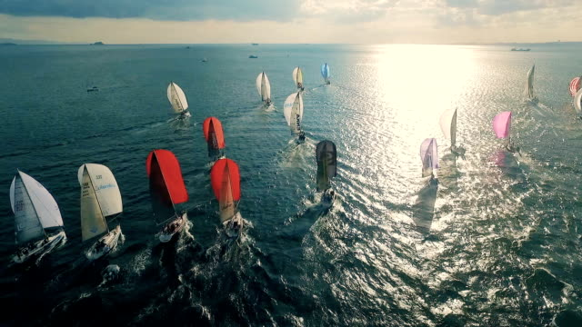 sailing race aerial view - sailing boat stock videos & royalty-free footage