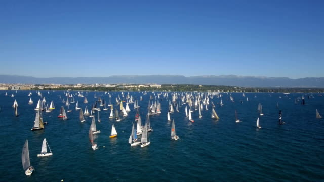 sailing race and sail boats on the  lake geneva in switzerland - sailing boat stock videos & royalty-free footage