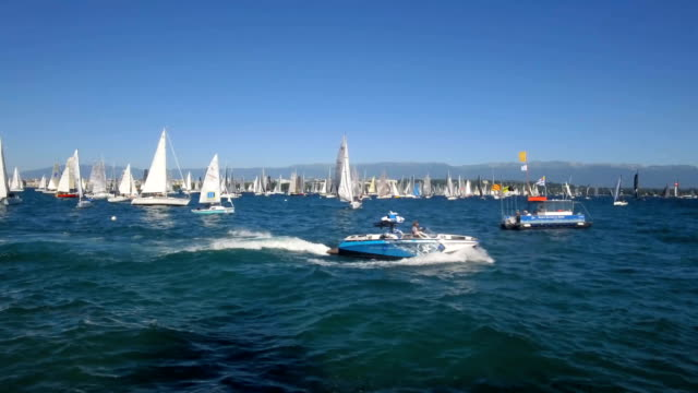 sailing race and sail boats on the  lake geneva in switzerland - sailing stock videos & royalty-free footage