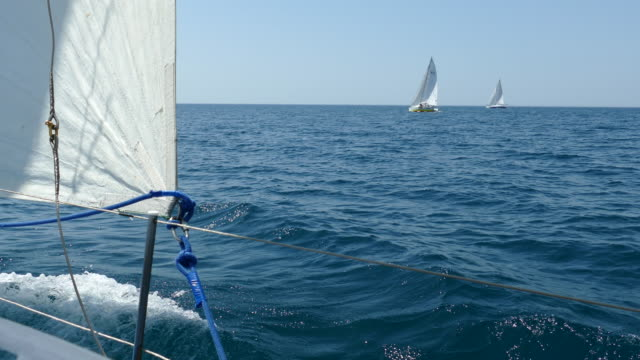 sailing race in the open sea - regatta stock videos & royalty-free footage