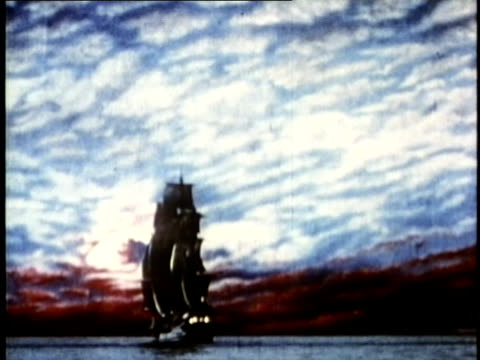 1948 reenactment ws sailing ship at sea silhouetted against sunset / audio - circa 15th century stock videos & royalty-free footage