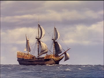 sailing ship on ocean / reenactment / plymouth adventure (1952) - pilgrim stock videos & royalty-free footage