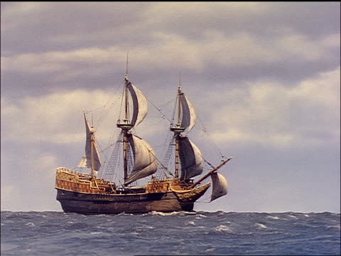 vídeos de stock, filmes e b-roll de sailing ship on ocean / reenactment / plymouth adventure (1952) - reconstituição histórica