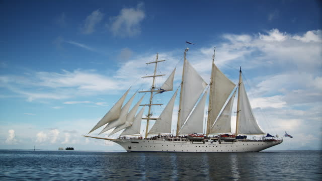 sailing ship - tahaa island stock videos & royalty-free footage