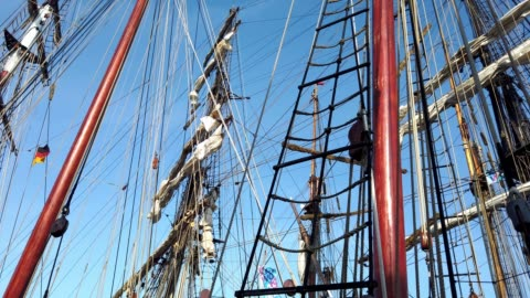 sailing ships and the cruise ship aidaluna in the kiel harbor - tina terras michael walter stock-videos und b-roll-filmmaterial