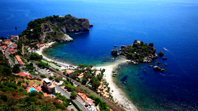 sailing taormina isola bella, elevated view - sicily stock videos & royalty-free footage