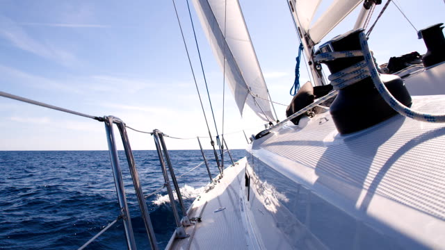 slo mo ms sailing the sea - boat point of view stock videos & royalty-free footage