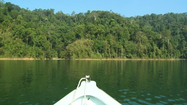 sailing towards rainforest, temenggor lake, gerik - push in stock videos & royalty-free footage