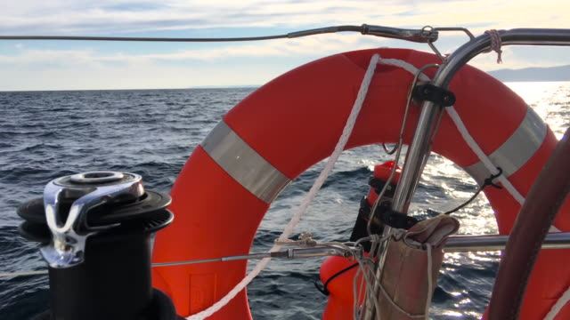 sailing with rescue equipment - life belt stock videos & royalty-free footage