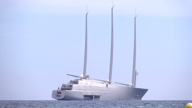 'Sailing Yacht A' rolls into Cannes The vessel is 144 metres long and 100 metres high and weighs 12558 tonnes It requires 54 crew to operate it and...