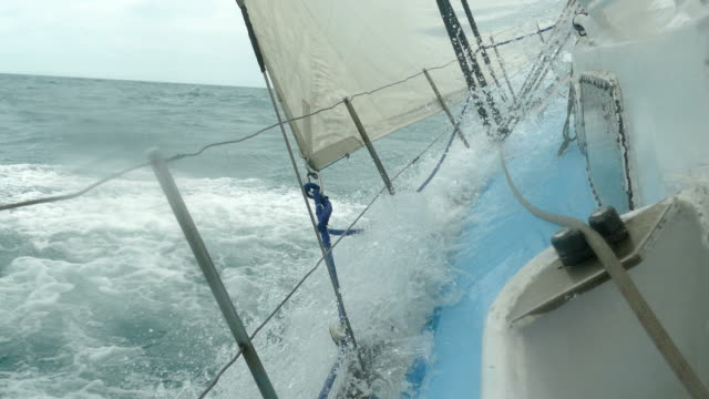Sailing yacht with a strong roll under the gusts of the wind