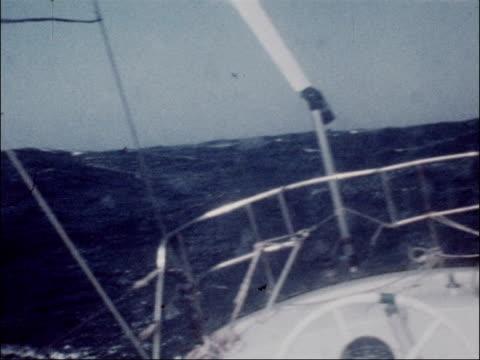 sailor naomi james receives cbe award lib naomi james on board yacht as pulls up sails pull out ls james winding up sails gv yacht at sea ms sea... - dartmouth england stock videos & royalty-free footage