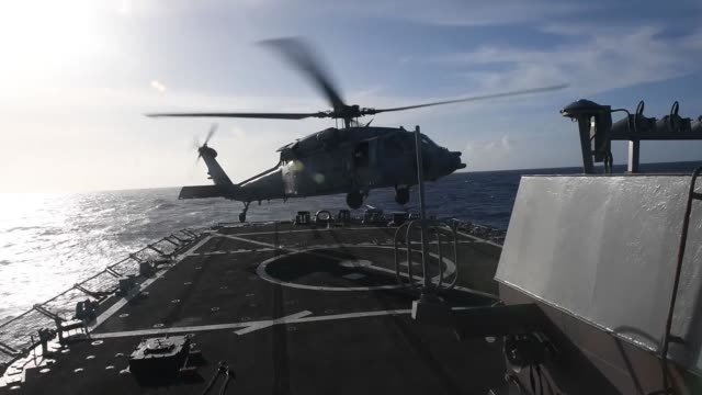sailors aboard uss curtis wilbur conduct flight operations in the philippine sea. curtis wilbur is forward-deployed to the u.s. 7th fleet area of... - solid stock videos & royalty-free footage