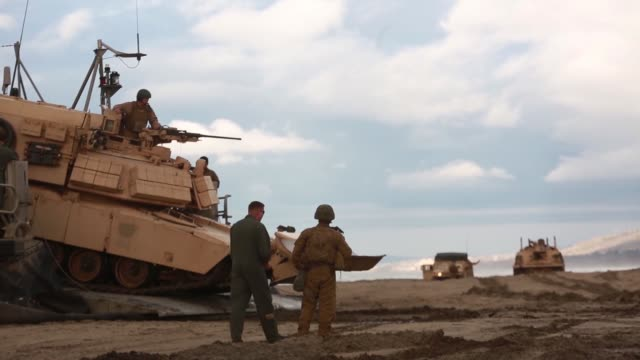 sailors and marines conduct an amphibious breach training marine corps base camp pendleton, california, january 12, 2019. - amphibious vehicle stock videos & royalty-free footage
