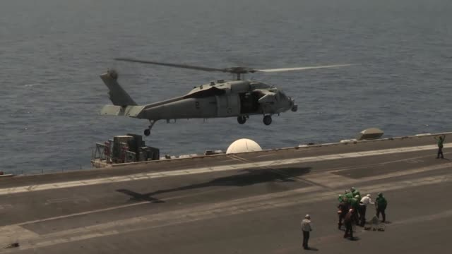 sailors and marines conduct flight operations aboard the aircraft carrier uss nimitz - catapult stock videos & royalty-free footage
