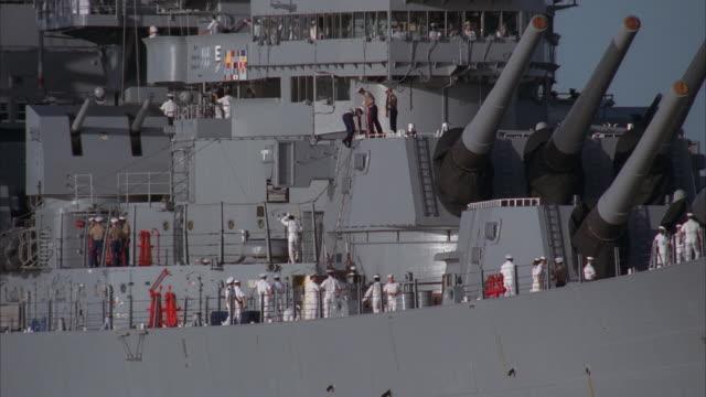 MS, Sailors on superstructure of USS Missouri