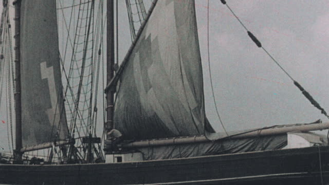1937 montage sailors raising the sail of the schooner katie and general preparations for departure / dartford, england, united kingdom - rigging stock videos & royalty-free footage