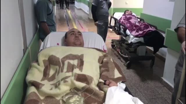 sailors rescued from a sunk panama-flagged ship receive medical treatment at a hospital in samsun province in turkey on january 07, 2019.two seamen... - nautical vessel点の映像素材/bロール
