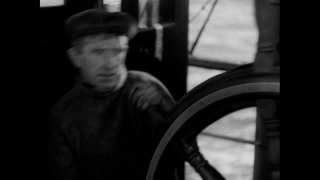 montage sailors rush to their positions as rough seas threaten a fishing trawler / aberdeen, scotland, united kingdom - captain stock videos and b-roll footage